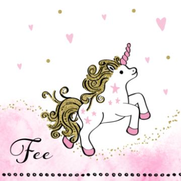 Geboortekaartje unicorn voor een dochtertje met goud accenten. #geboortekaart #geboortekaartje #geboortekaartjes #geboortekaarten #unicorn #dochtertje #meisje #babygirl #waterverf #roze #goud #hartjes #stipjes