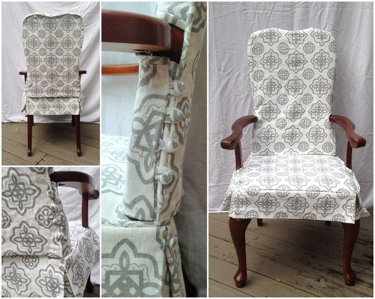 Two Piece Washable Dining Chair Slipcover With Button