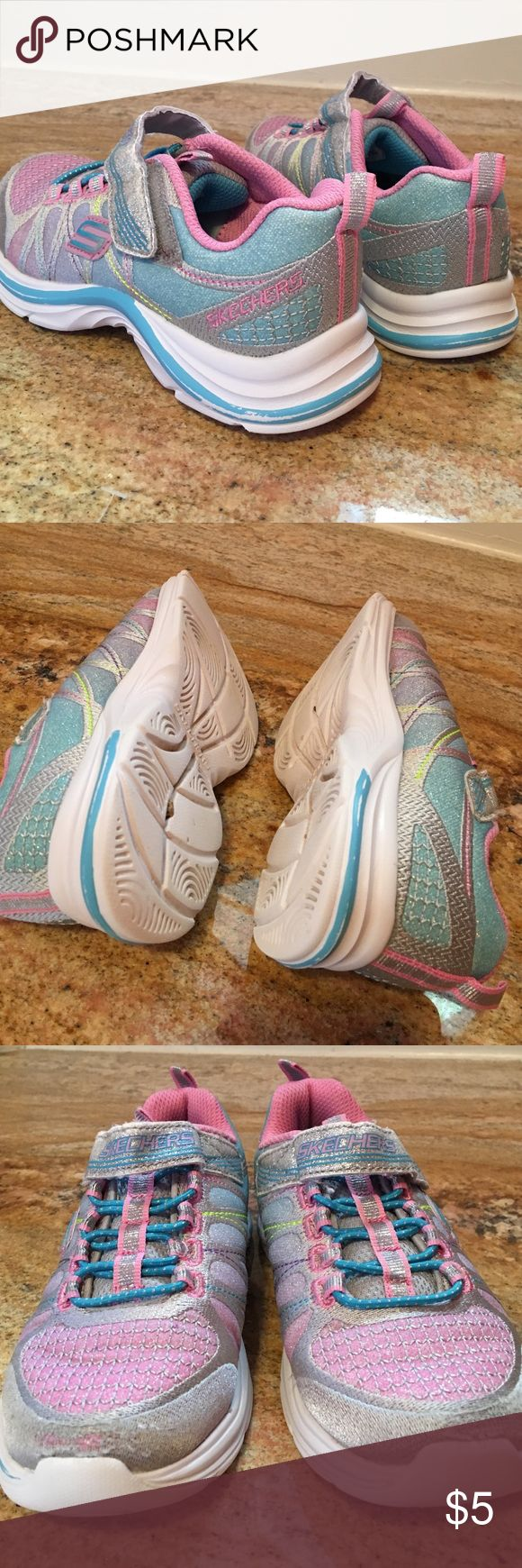 👟Skechers Girls shoes soft tones. Loved Skechers girls shoes in a 12.5 Medium. These are Velcro closure and have some wear on the toes as noted in pic. These will go FREE into any girls purchase with clothes or shoes of two or more items. I will reduce the $5.00 on your bundle. Happy Poshing loves 👩👧 Skechers Shoes Sneakers