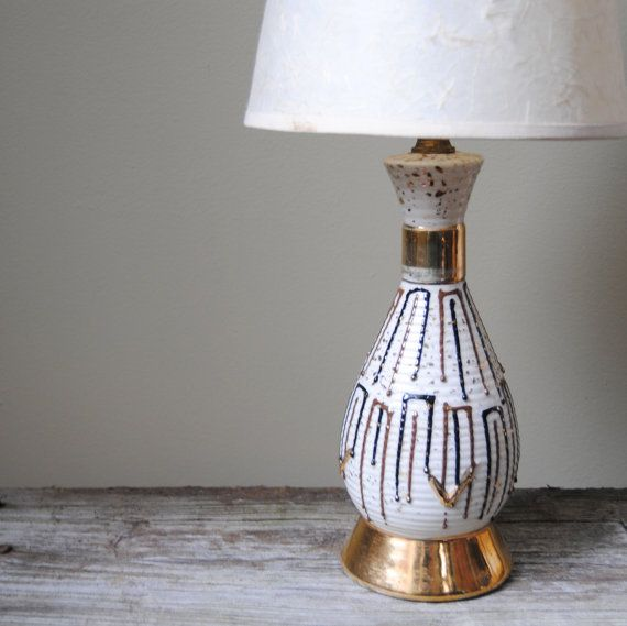Atomic Lamp, 1950s Retro Table Lamp, Vintage Mid Century Modern Ceramic Lamp, Table Lamp, White and Gold, Lighting via Etsy by Untried