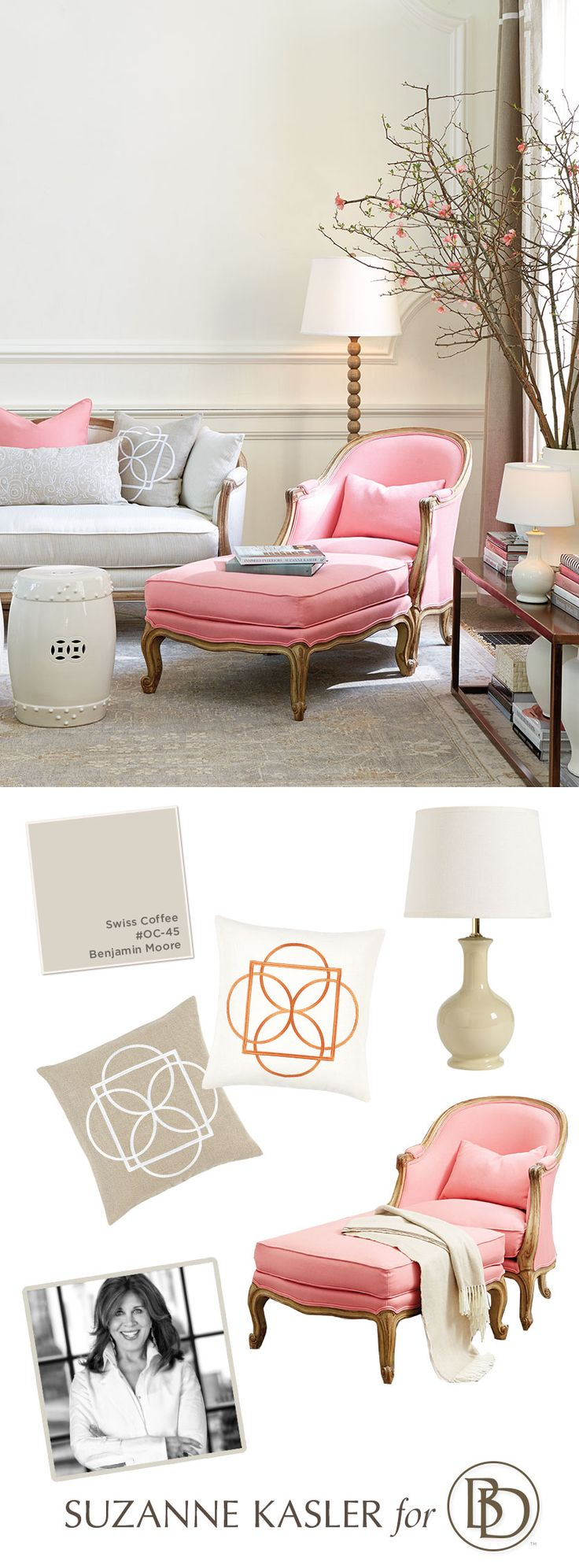 Looking for some home decor inspiration? We're bringing celebrated interior designer Suzanne Kasler's sophisticated look to your home with her favorite neutrals and her newest Peony Pink linen fabric.