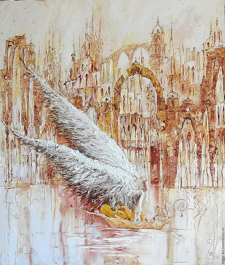 """Купить """"По реке времени"""" - бежевый, ангел, ангел-хранитель, город, готика, готический стиль"""