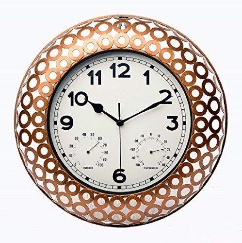 Maytime Indoor/Outdoor Decorative Metal netted Round Frame Wall Clock with Thermometer and Humidity 15 Inch(Bronze)  #Clock #Decorative #Frame #Humidity #InchBronze #Indoor/Outdoor #Maytime #Metal #netted #Round #RusticGrandfatherClock #Thermometer #Wall The Rustic Clock