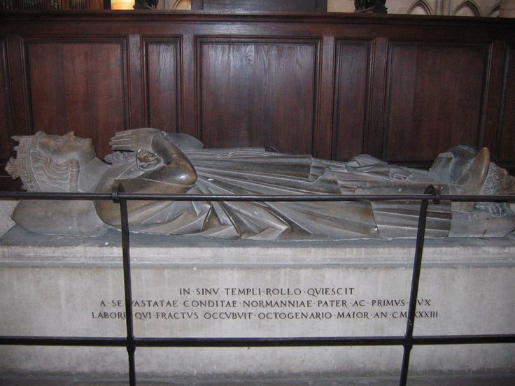 """Grave of Rollo (c. 846 – c. 932), also known as Hrolf the Ganger, baptised Robert and so sometimes numbered Robert I to distinguish him from his descendants, was a Norse Viking who was founder and first ruler of the Viking principality which soon became known as Normandy. His descendants were the Dukes of Normandy, and following the Norman conquest of England in 1066, kings of England. Thought to be Ragnar Lothbrok's brother or cousin, depends on which historian you """"listen"""" to."""