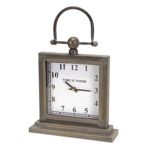 Gray Desk Clock with Handle