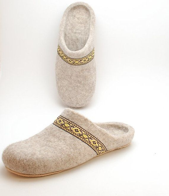 Felted wool slippers beige organic wool felt by WoolenClogs, $79.00