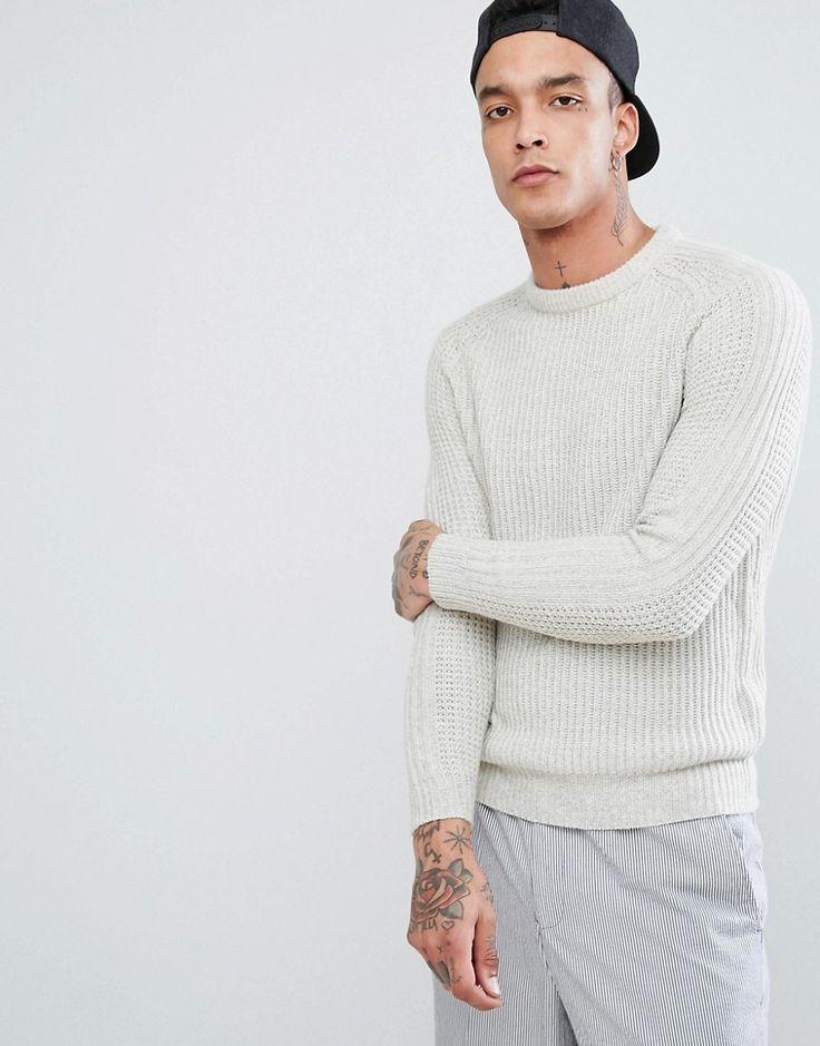 Bershka Knitted Sweater In Ecru - Beige
