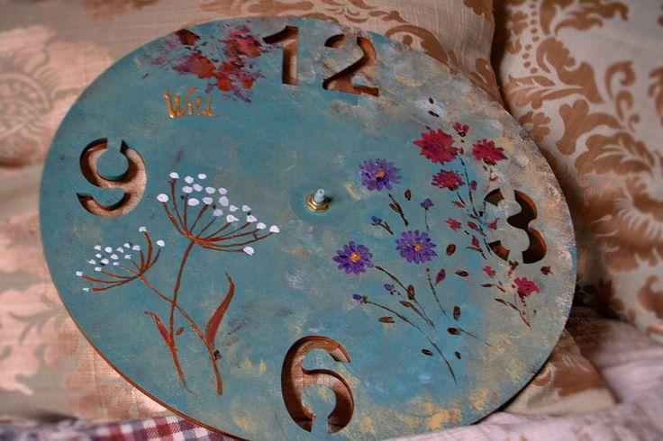 Panted wooden wall clock