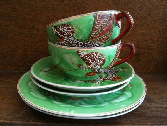 Vintage Green Dragon Tea Cup Set with Plates by EnglishShop, $169.00