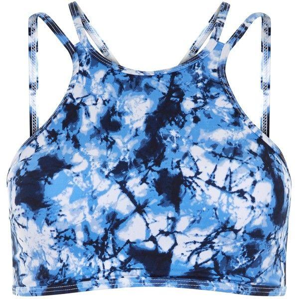 New Look Blue Tie Dye High Neck Bikini Top ($21) ❤ liked on Polyvore featuring swimwear, bikinis, bikini tops, blue pattern, swimsuit tops, swim suit tops, print bikini, tankini top and blue tie dye bikini