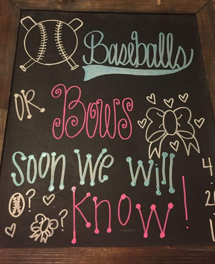 Gender reveal chalkboard  Baseballs or Bows