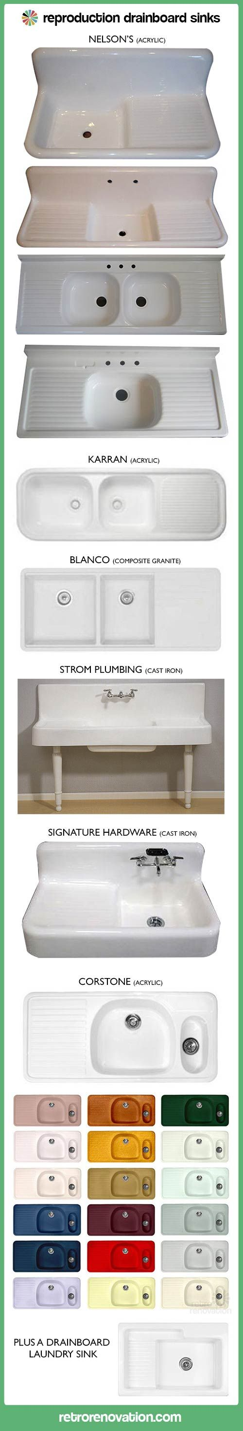 A host of options from for farmhouse kitchen drainboard sinks from Retro Renovation.