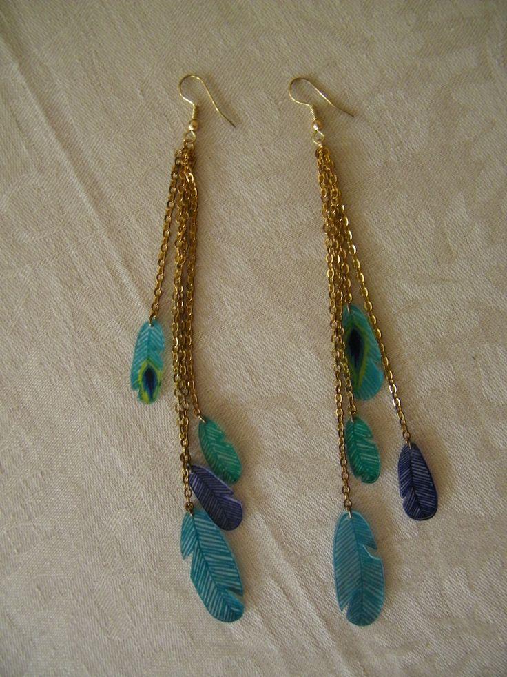 Boucles d'oreilles plumes en plastique fou