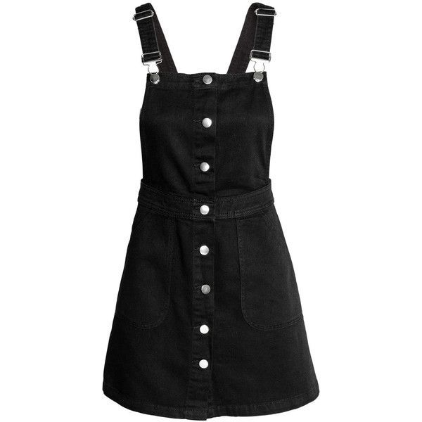 Denim Bib Overall Dress $34.99 (1,650 DOP) ❤ liked on Polyvore featuring dresses, overalls, h&m, black, denim and short overalls