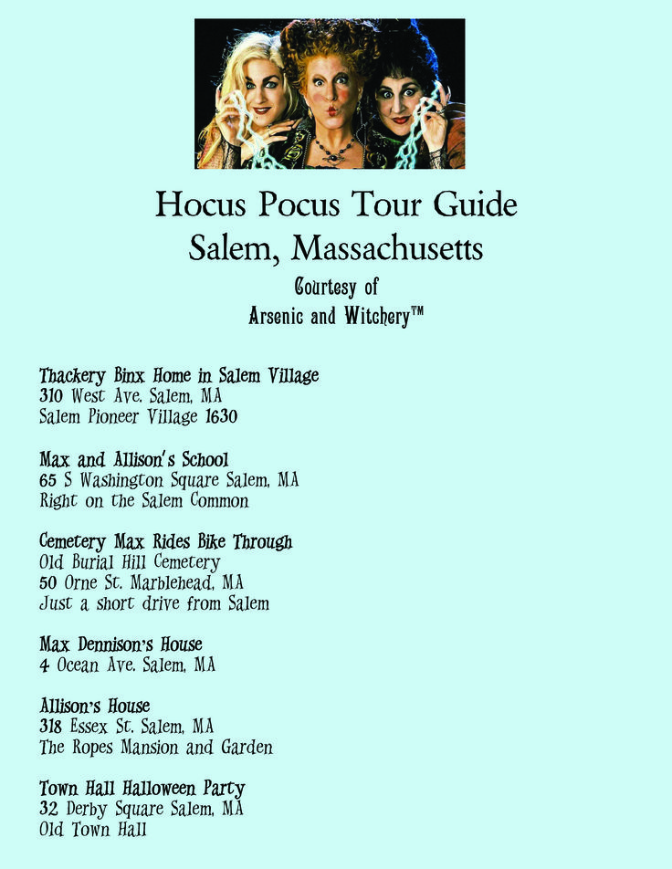 Free Hocus Pocus Movie Location Guide Salem, MA #hocuspocusmovielocations #hocuspocuslocations #hocuspocussalem
