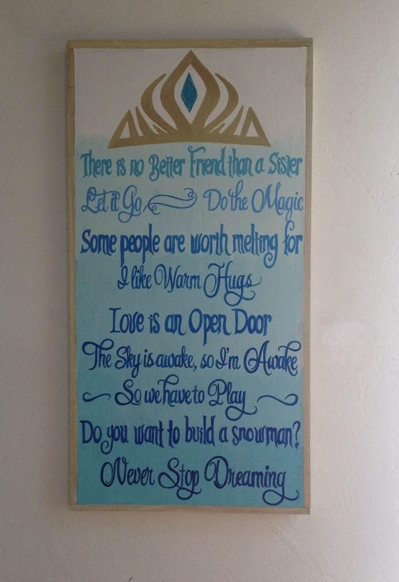 Hand painted sign nursery sign Ombre Disney Frozen nursery  playroom art by StardustTalismans, $100.00