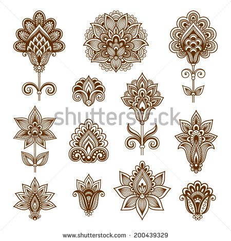 Ornamental flowers. Vector set with abstract floral elements in indian style - stock vector