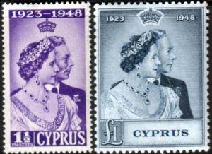 Cyprus King Stamps 1948 George VI Royal Silver Wedding