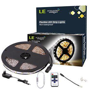 LE Bande LED flexible 12V, KIt tout inclus, ruban LED, blanc lumière du jour, 300 unités LED type 3528, non étanche, bandes ultra légère et…