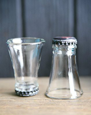 """What to do with the tops of beer bottles after making """"beer bottle glasses"""" 