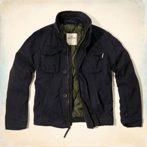 NWT Hollister by Abercrombie Men's Cotton Hammerland Military Jacket Coat Navy M #Hollister #BasicJacket