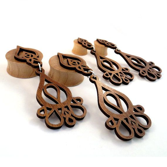 Dripping Tears 3D Inlay on Maple Wooden Plugs  0g by EarEmporium, $44.00