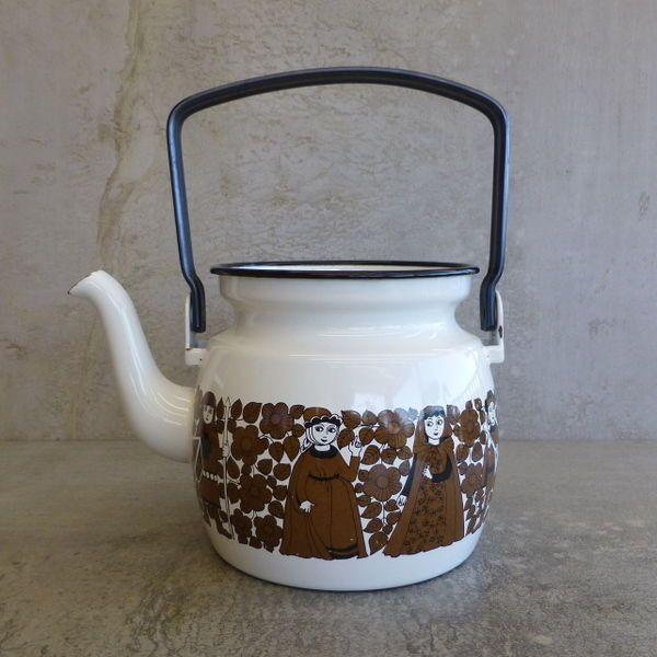 Vintage Arabia Finland Enamel Teapot - NO LID desinged by Kaj Franck Mid Century Scandinavian design.