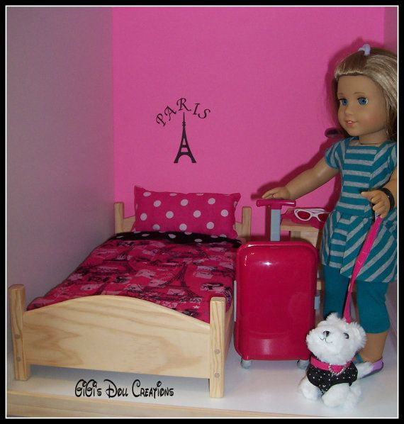 Paris Theme bedding for American Girl Dolls by GiGisDollCreations