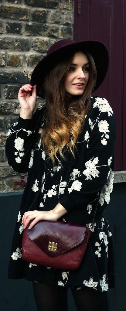 #street #fashion black and white floral @wachabuy