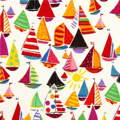 white fabric with colourful sailing boats by Alexander Henry