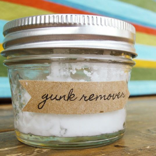 Make DIY Goo Gone or Goof Off at home using just two ingredients: coconut oil and baking soda. Rub it on the sticky spot...gunk is gone!
