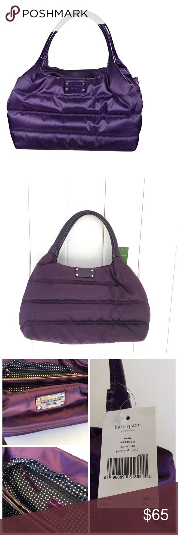 """Kate Spade Stevie bag in Alpine Hills Purple Lake NWT Kate Spade Stevie in alpine hills purple lake. Perfect for a gym bag, diaper bag, or purse! Measures 14"""" wide by 9"""" high by 6"""" deep. 7"""" strap drop. Two interior sections separated by a zipper pocket, plus two interior slip pockets. kate spade Bags"""
