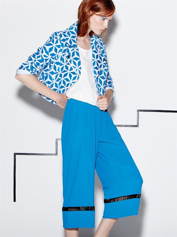 Naughty Dog SS16 geometric jacket and blue midi viscose trousers!