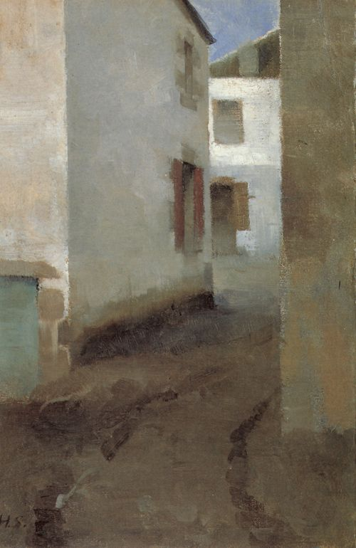 street in pont-aven 1883 oil on canvas 32-22cm,Helene Schjerfbeck