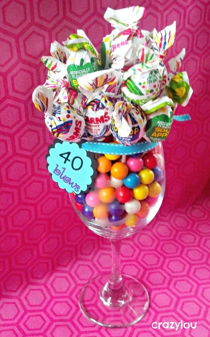 40 Blows! Etched Wine glass filled with gum balls and topped off with Blow Pops!