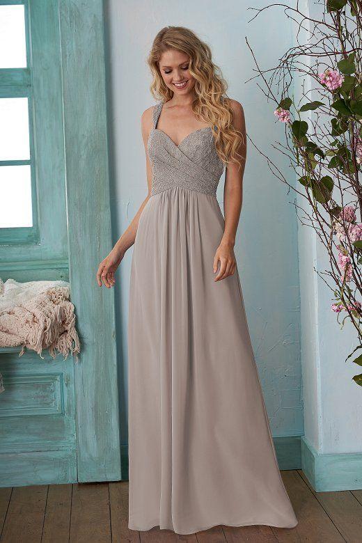 107b5992f78d6 B203009 Long Sweetheart Neckline Lace & Poly Chiffon Bridesmaid Dress
