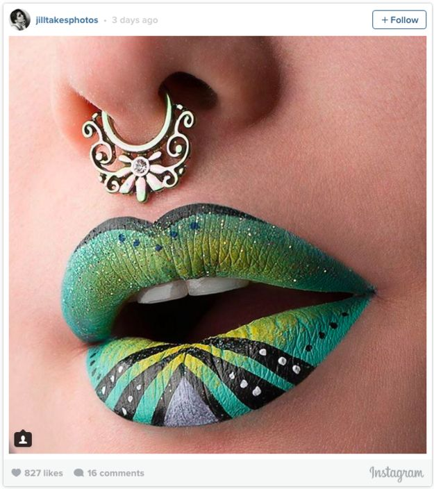 Plus bold spots and stripes… | Literally Just 17 Ridiculously Gorgeous Lip Art Looks You'll Want To Copy