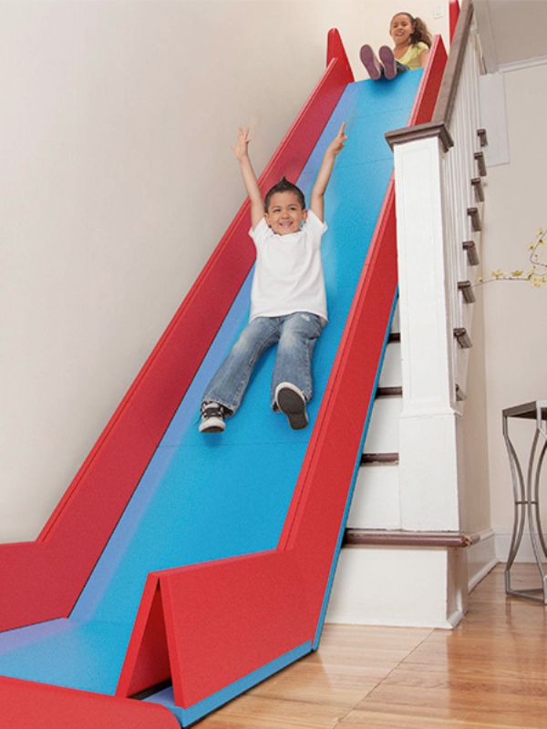 Removable Indoor Slide | t transforms staircases into slides and folds up when not in use, making it quick and easy to build a fun indoor playground for kids.