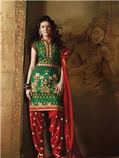 Punjabi Cotton Patiala Salwar Suit - Look ethnic with this elegant and stylish cotton patiala punjabi salwar suit adorned with charming embroidery work.  The patiala suit is perfect attire for all ocassions and comes with santoon bottom and matching chiffon dupatta. This pataila salwar can be custom stitched for upto bust size 42 inches.