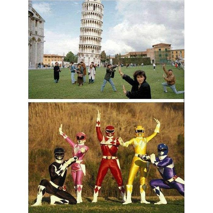 Power Rangers Of Pisa Time     http://onlineclock.net/video/  #PowerRangers #Pisa #LeaningTower #MightyMorphin #Superheroes #Italy #Tourists