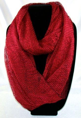 Comfortable Women's red net infinite scarf. 163cmx53cm  #I124((YQJ)