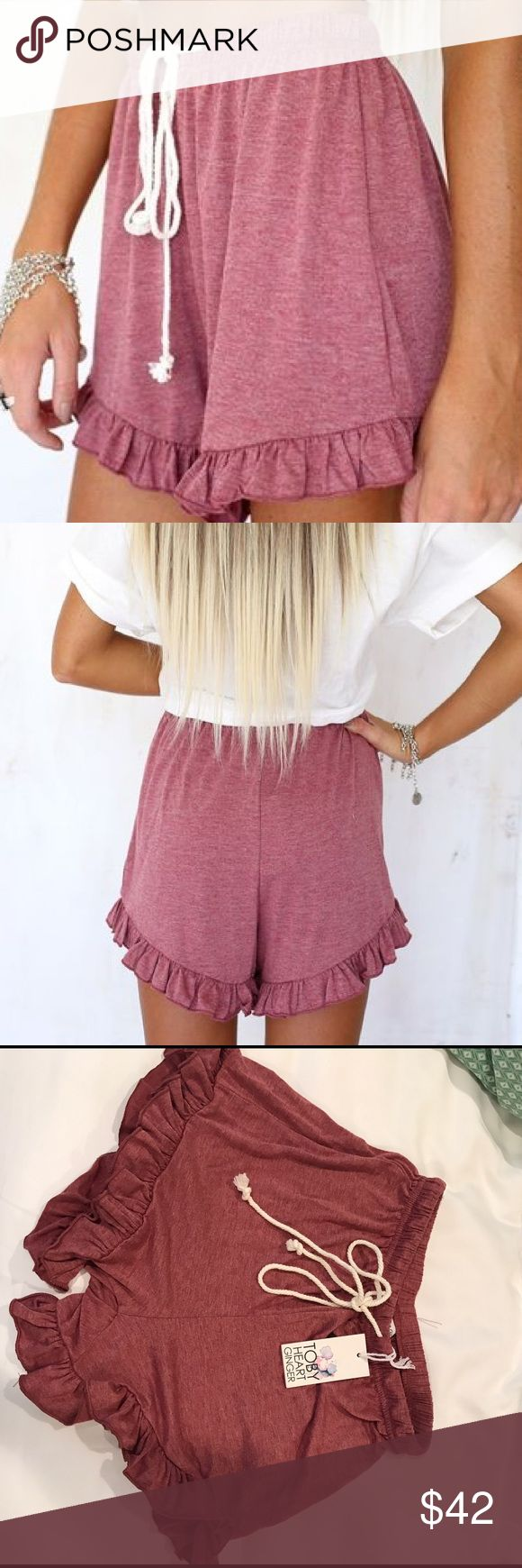"""Sabo skirt frill ruffle shorts NWT Sabo skirt """"Chill Frill"""" shorts. SIZE XS, but also could work for a small! These are SOLD OUT and no longer available on their website, so snatch these up while you can! So cute on. Wear them for leisure, or for a cute day outfit. Never worn, new with tags. Color is a light maroon/burgundy. Also similar to the Free People style. Originally $52 on saboskirt plus $10 ship. Chaper on mercri! Sabo Skirt Shorts"""