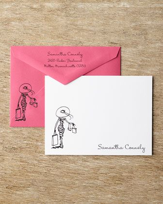 Diva Correspondence Cards with Personalized Envelopes by Carlson Craft at Horchow.