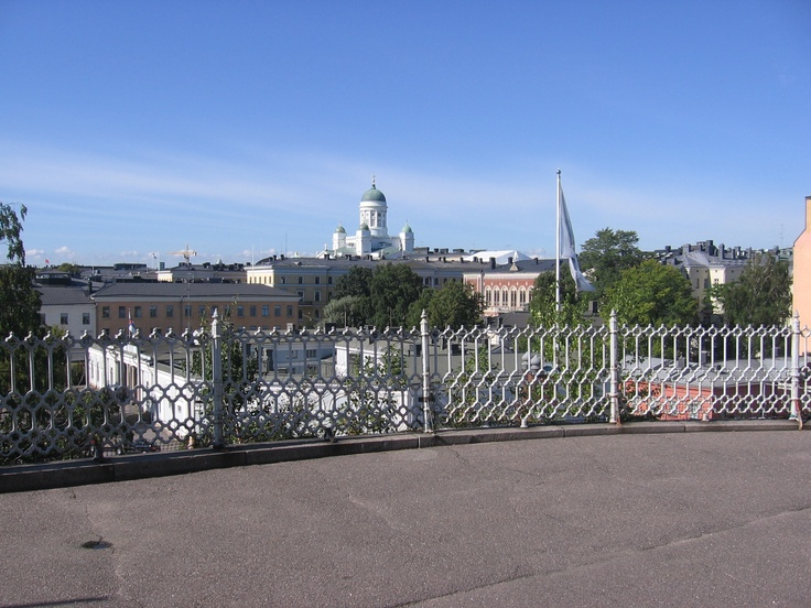 """In the background """"Suurkirkko"""" cathedral in Helsinki"""