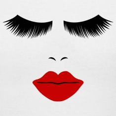White Fashion Face Silhouette, Red Lips, Lashes--DIGITAL DIRECT ONLY! Women's T-Shirts