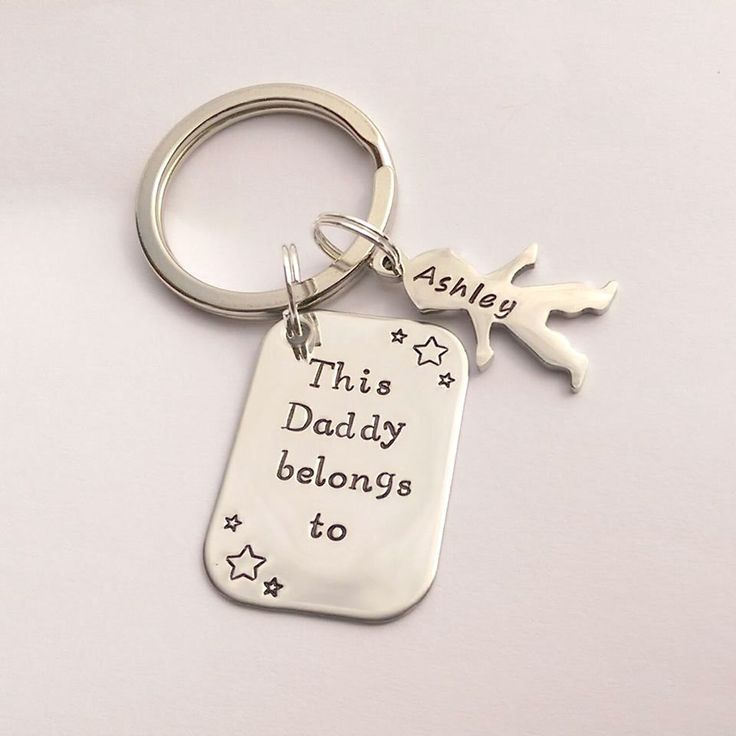 Personalised Dad Daddy present - This Daddy Grandad Grandpa Uncle belongs to personalized keychain - personalised keyring birthday present by EmsStampedJewellery on Etsy