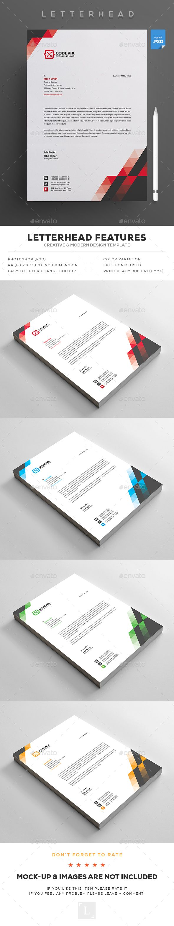 #Letterhead - #Stationery #Print #Templates Download here: https://graphicriver.net/item/letterhead/18397456?ref=alena994