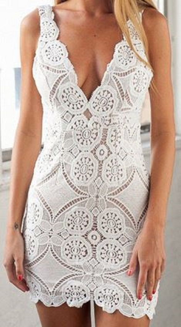 Love the Lace! Sexy White Lace Plunging Neck Sleeveless Hollow Out Crochet Flower Women's Dress #White #Floral #Lace #Summer #Dress #Fashion