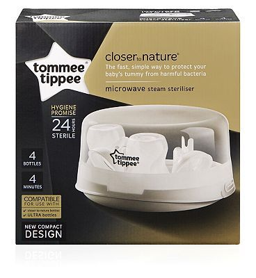 #Tommee #Tippee #Microwave #Steriliser #10214846 #116 #Advantage card #points. #Tommee #Tippee #Microwave #Steriliser has a #compact #design #making it #perfect for #travel. The #quick and #convenient #cycle time #means you can have four #sterile #bottles in four #minutes #meaning you are #never #without a #sterilised #bottle. FREE #Delivery on #orders over 45 GBP. (Barcode EAN=5010415236104)