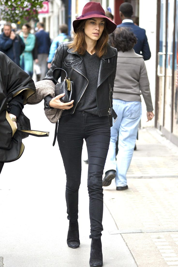 Alexa Chung - effortless chic as usual. Get your skinnies ready, pull on your ankle boots - sling on a jacket and top it all with a jaunty hat. Go on - you can do it too!